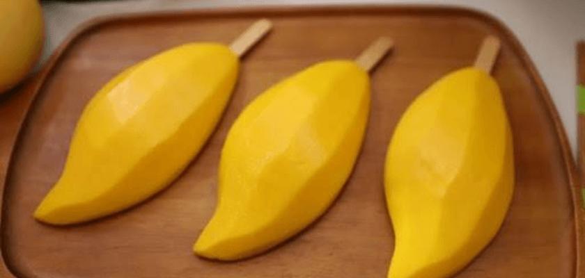ไอศกรีมมะม่วงน้ำดอกไม้พันธุ์สีทองแช่เยือกแข็งพร้อมรับประทาน